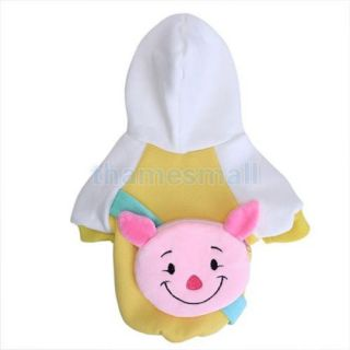 Pet Dog Warm Hoodie Hooded Coat Clothing Clothes Apparel w Pig Zipper Bag XL