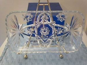 Vintage Depression Clear Pressed Glass Rectangle Dish Candy Side Plate