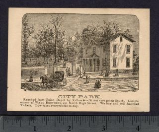 1800's Columbus Oh City Park Railroad Steamship Tickets Ward Brothers Trade Card