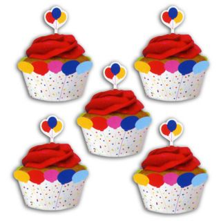 12 Children's Birthday Party Balloons Cupcake Wrappers Wraps Decorations