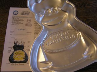 Wilton 1982 Chef Hat Cookie Monster Happy Birthday Cake Pan Mold w Instructions
