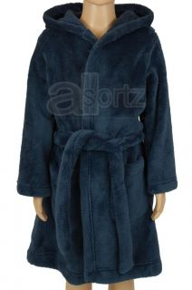 Boys Childrens EX M s Navy Blue Fleece Dressing Gown with Hood Hooded Age 6 16