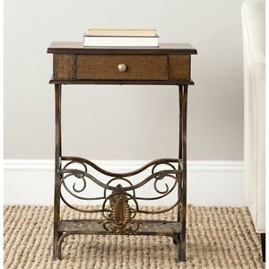 Night Stand Accent Table Birchwood Bedroom Furniture Metal Wood
