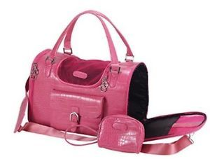 New Faux Crocodile Leather Travel Carrier Bag Pet Cat Small Dog Tote Pink Purse