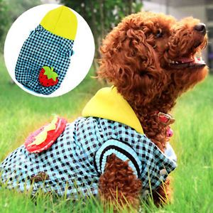 S M L XL Strawberry Blue Checked Small Dog Coat Fleece Dog Clothes Pet Supplies