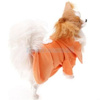 Pet Dog Orange Coat Dress Clothes Clothing Apparel w Back Buttons Decoration XS