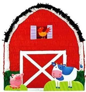 Farm Barn Pull String Pinata Animal Party Supplies