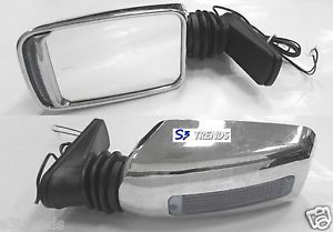 Universal Chrome Turbo Style Side Rear View Mirror Signal Light Clear L R