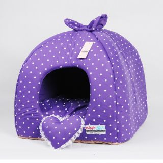 Rose Purple Princess Pet Dog Cat Soft Bed House Tent Small Toy