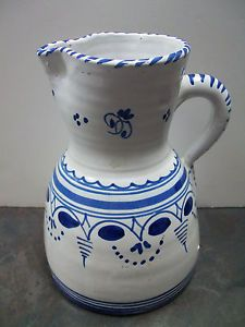 Vintage Clay Pottery Handmade Pitcher Toledo Spain Signed P Arzobispo
