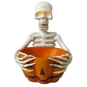 Indoor Outdoor Lighted Halloween Skeleton Candy Treats Bowl