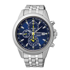 Seiko Men's SNDF03 Stainless Steel Chronograph Blue Dial Watch