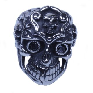 USA Seller Men's Silver Stainless Steel Skull Harley Biker Ring Size 8 14 SR42