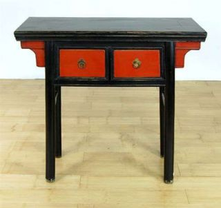Chinese Black Red Ming Style Desk Table Entry Stand Cabinet Furniture 34""