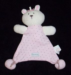 Vitamins Small Pink Brown Polka Dot Teddy Bear Baby Lovey Security Blanket Toy 9
