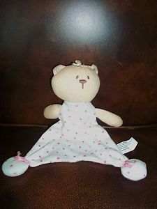 Vitamins Kids Plush Stuffed Pink Dot Teddy Bear Baby Girl Lovey Security Blanket