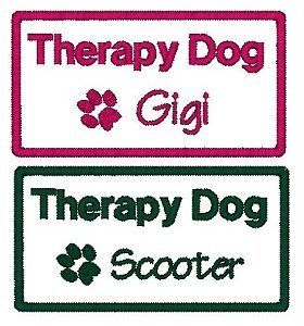 Custom Name Therapy Dog Patch Personalized Pet Tag