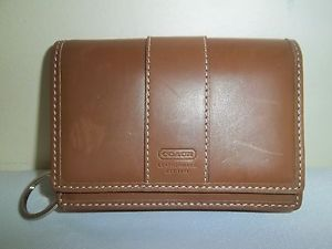Coach Brown Leather Key Ring Change Coin Purse Credit Card Holder Mini Wallet