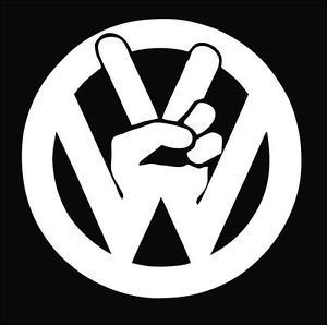 VW Volkswagen Peace Sign Decal Sticker Car Truck Laptop Pick Your Color