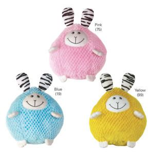Zanies Bumblies Soft Plush Dog Toy Round Rabbit 3 Pack
