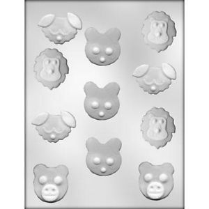 Animal Faces Chocolate Candy Molds Party Treats Cute Jungle Farm 90 11110