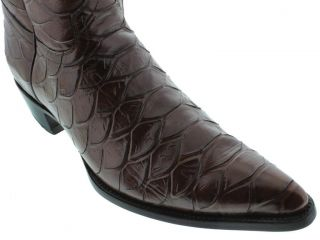 Men's Brown Leather Full Anaconda Snake Cowboy Boots Western Exotic Rodeo