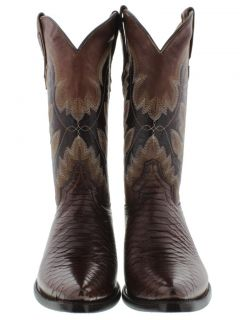 Men's Cognac Brown Leather Python Snake Cowboy Boots Western Exotic Rodeo Biker
