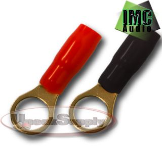 2 8 Gauge Wire Cable Ring Terminal Connectors Red and Black Boots Electrical