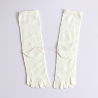1pair Antibacterial Long Five 5 Finger Toe Cotton Dress Sports Socks Foot Care