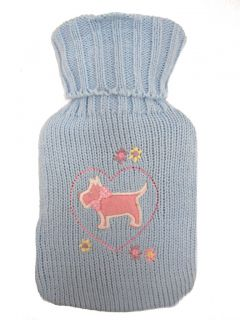 Small Hot Water Bottle with Owl and Dog Knitted Cover Colours Fuchsia Blue