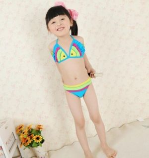 2pcs Baby Girl Kid Toddler Swimsuit Bikini Swimwear Fish Bathing Swim Costume