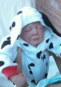Reborn Baby Boy Dressed Up for Halloween Cruella DeVille Costume for Mommy Too