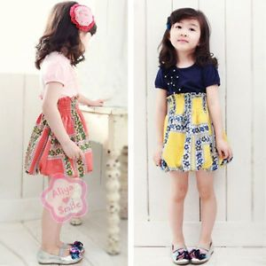 Elegant Girl Summer Floral Party Kid Dress Baby Clothing Costume Sz 2 3 4 5 6