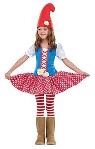 Girls Gnome Costume Infant Toddler Girls Childs Kids Fancy Dress Halloween Nome