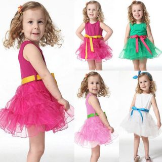 Kids Girls Baby Party Tutu Skirts One Piece Dress Belt Cotton Costume Age 3M 4Y