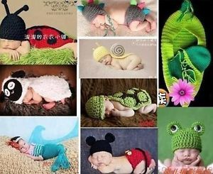 9 Pcs Sets Hand Knitted Baby Crocheted Photography Prop Newborn Costume Outfits