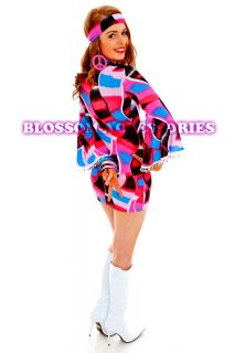 G86 60s 70s ABBA Retro Hippie Girl Disco Dancing Groovy Fancy Dress Hens Costume