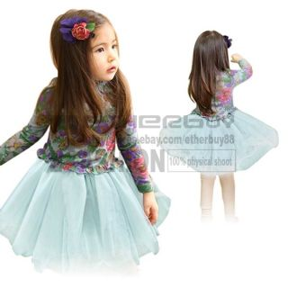 Girls Kids Long Sleeve Casual Floral Dress Tutu Skirt 2 7 Years Costume Clothing