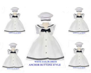 New 87g Infant Toddler Nautical White Navy Sailor Dress