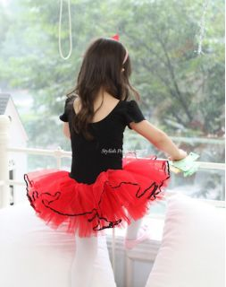 Girls Party Dance Ballet Tutu Dress Costume 3 8 Red Black Leotard Pettiskirt
