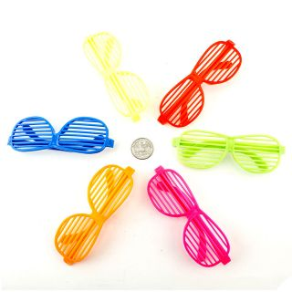 New 6pc Shutter Shades Hip Hop Glasses Multiple Colors Party Favors 80s Novelty