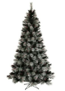 6 5' Pre Lit Black Ash Christmas Tree Purple Lights
