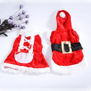 Pet Christmas Clothes Outwear Coat Apparel Puppy Dog Santa Claus Costume Hoodie
