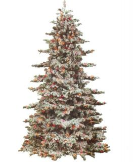 9' Heavily Flocked Snow Drift Pre Lit Christmas Tree