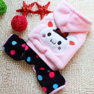 Dog Animal Print Winter Hoodie Costume Pet Dress Up Jumpsuit Clothes Candy Color