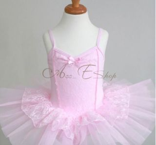 Pink Girl Ballet Dance Leotard Lace Tutu Skate Costume Party Dress Skirt Sz 4 8
