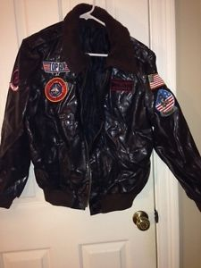 Adult Men's Top Gun Pilot Bomber Jacket Outfit Halloween Party Costume Small