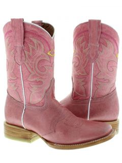 Women's Ladies Pink Leather Roper Cowboy Boots Western Rodeo Riding Biker