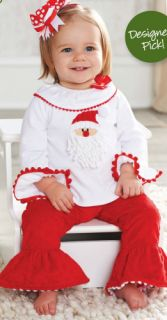 Mud Pie Christmas Baby Girl Red White Santa Tunic Disco Flared Minky Pant Set