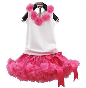 2pcs Baby Girl Top Pettiskirt Tutu Dress Outfit Costume Clothes 0 12y Hot Pink